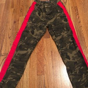 Pants - Army cargos with red stripe